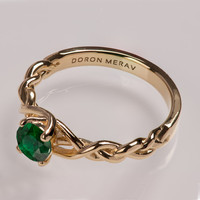 Braided Engagement Ring No.2 - 14K Gold and Emerald engagement ring, engagement ring, wedding band, stackable ring, celtic ring