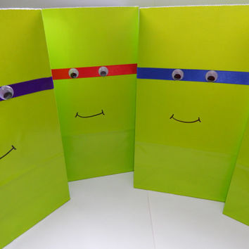 Teenage Mutant Ninja Turtle Party Bags - TMNT Birthday Decor - TMNT Party Favors - Set of 8