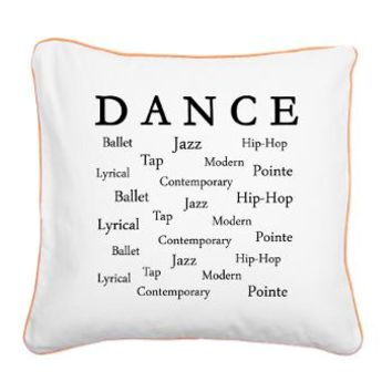 Dance Words Square Canvas Pillow