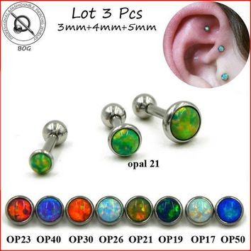 Bog Lot 3pcs 316l Surgical Steel Ear Tragus Cartilage Barbells Piercing Stud Ring With Opal Stone 16g Body Jewelry Earring