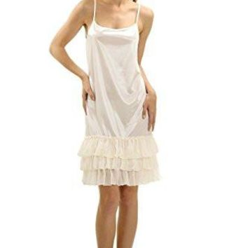 Women's Satin Full Slip Dress with Sheer Ruffles