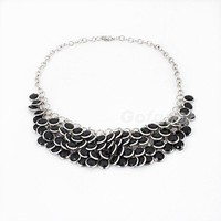 Europe fashion Vintage Fashion Black&White Layered Gem Beads Bib Necklace