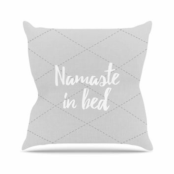"KESS Original ""Namaste In Bed Grey"" White Gray Throw Pillow"