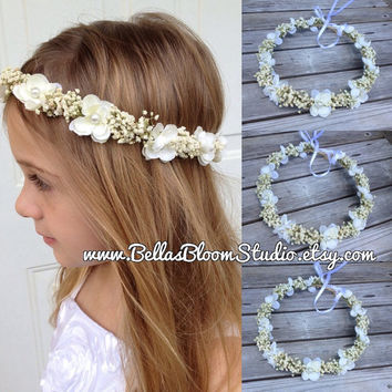 Flower Crown Ivory - Baby Breath hair crown - flower girl halo -toddler flower crown-baby flower halo-communion headpiece-ivory bridal crown