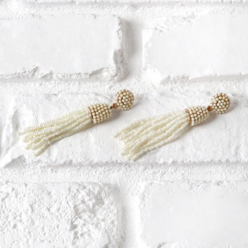 Ivory Beaded Tassel Drop Earrings