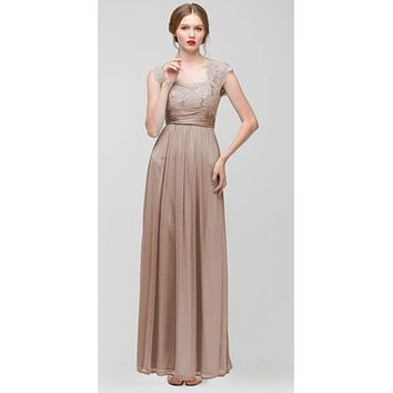 Sweetheart Neck Lace Bodice Mocha Floor Length Dress