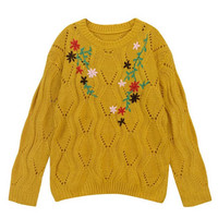 Round Neck Vintage Floral Knitted Sweater