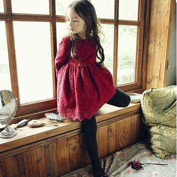 Wine Color Little Girl Lace Dress With Big Bow Baby Children Kids Cute Clothing Big Bow Dress For Prom Or Wedding Party