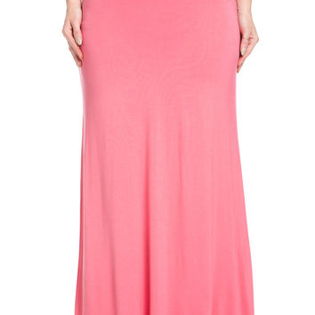 Plus Size Fold Over Two-Way Maxi Skirt Coral