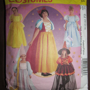 Spring Fever Sale McCall's Halloween Costume Sewing Pattern, 2856! Size 10-14 Girls, Princess, Bell, Snow White, Cinderella, Sleeping Beauty