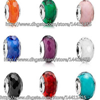 9pcs 925 Sterling Silver Screw Fascinating Faceted Murano Glass Beads Fit Pandora Jewelry Charm Bracelets & Necklaces