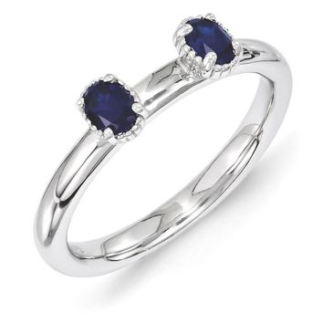 Sterling Silver Stackable Created Sapphire Oval Two Stone Ring