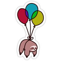 'Balloon Sloth' Sticker by SaradaBoru