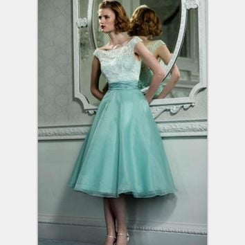 1950's Vintage Hepburn Style Party Dresses Cap Sleeves Mint Green Organza Lace Retro Short Prom Cocktail Dress