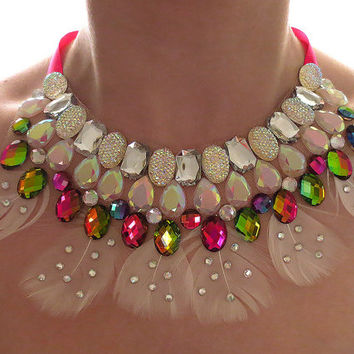 Clear AB and Rainbow Feather Statement Necklace, Vitrail, Rhinestone Bib Necklace, Dramatic, Bold, Feather Necklace, Glittery Necklace
