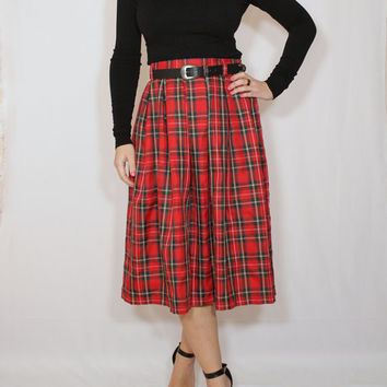 Red plaid skirt Tartan skirt Women midi skirt High waist skirt with pockets