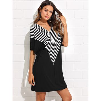 Striped Wrap Front Batwing Dress