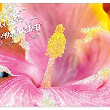 """Pink Hibiscus with Sympathy"" Greeting Card"