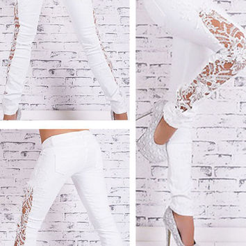White Side Lace Stitched Skinny Jeans