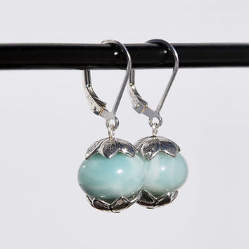 Sterling Silver and Amazonite Earrings with Sterling Silver bead caps, leverback earring, leverback amazonite earrings, sterling leverback