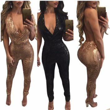2017 Women Rose Gold Black Halter BacklessSolid V-neck Club Wear Sequin Jumpsuit Sexy Party Night Club Romper Femme Jumpsuit