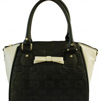 Loungefly Hello Kitty Black & Cream Embossed Bow Cross Body