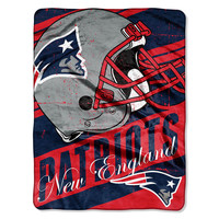 New England Patriots Blanket 46x60 Raschel Deep Slant Design Rolled