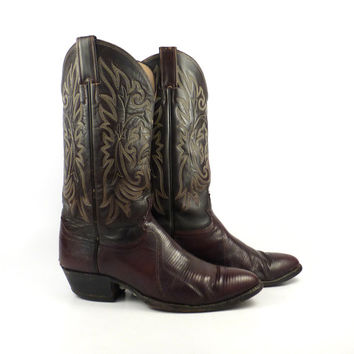 Vintage Cowboy Boots 1980s Justin Brown Lizard Leather Men's  size 9 1/2 D