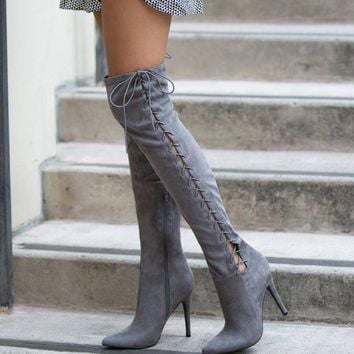 Gray Suede Leather Over The Knee Boots Point Toe Lace Up Side High Heel Boots
