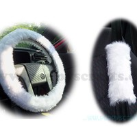 White fluffy steering wheel cover and matching faux fur seatbelt pads