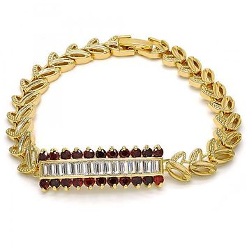 Gold Layered Fancy Bracelet, Leaf Design, with Cubic Zirconia, Gold Tone