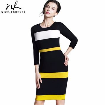 Nice-forever Summer Office Lady Illusion Patchwork Fitted Dress Casual O Neck Sleeveless Zip Back Dark Blue Chic Work Dress b275