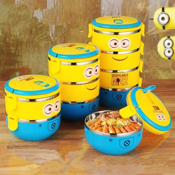 Protable School Kid Stainless Steel Thermos Heated Lunch Box Food Container Compartment Despicable Me Minions Marmita Tableware