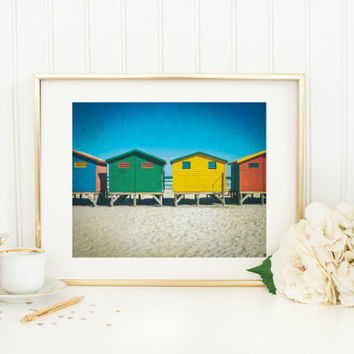Digital download, beach surf shacks, Cape Town printable, Muizenberg South Africa, colorful fine art travel photography, wall art home decor