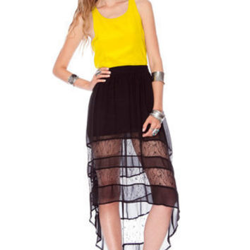 Up High, Lace Low Skirt in Black :: tobi