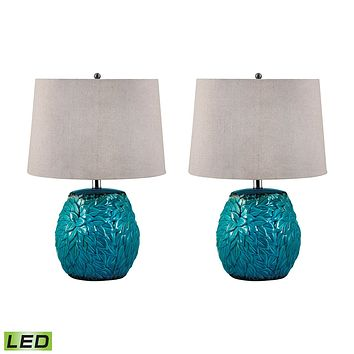 275/S2-LED Aqua Leaf Terra Cotta LED Table Lamp