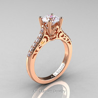 Classic French 14K Rose Gold 1.0 Carat Russian Ice Simulated Diamond Solitaire Wedding Ring R701-14KRGRISD