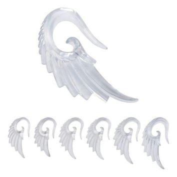PAIR-Tapers Hangers Wings Eagle Clear Acrylic 03mm/8 Gauge Body Jewelry