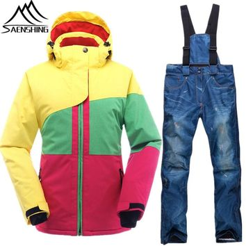 Saenshing Snowboard Suits Women Waterproof Thermal Winter Ski Jacket+Pants Breathable Ladies Snowboarding Skiing Suit Set