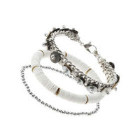 Silver and White Mix Bead Multi-Pack Bracelet - White