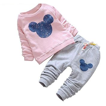 Baby Girl Clothes Baby Clothing Sets Cartoon Printing Sweatshirts+Casual Pants for Baby Clothes
