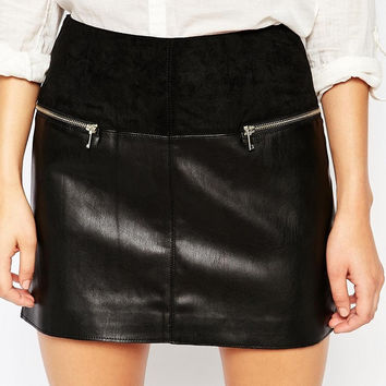 Black Faux Leather Zippered Mini Skirt