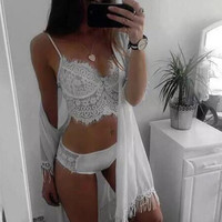 Fashion lace stitching sling Vest Set