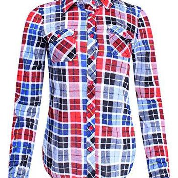 Ladies Code Womens Checkered Plaid Button Down Shirt Top with Roll up Sleeves