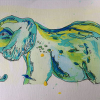 Elephant watercolor and acrylic//wall art//splatter and original painting decor