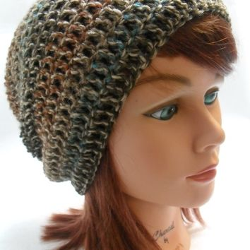 Crochet Slouchy Beanie Hat in Dusk Medium