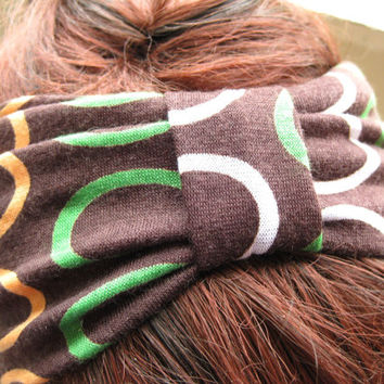 Circles Knot Headband, Cinched Headband, Boho Head Wrap, Turband, Brown Orange and Green, Soft Stretch Fabric, Women's Fashion Accessories