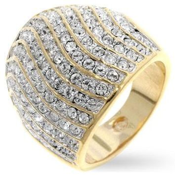 GOLD PLATED STERLING SILVER CZ ARMOUR RING S 7539