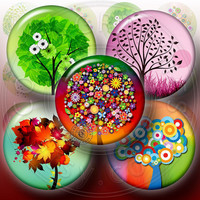 Whimsical Trees - Digital Collage Sheet CG-537C - 1.5 inch (or smaller) circles - for Scrapbooking, Resin Pendants, Bottle Caps
