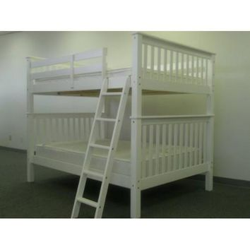 Solid Wood Mission Style Full Over Full Bunk Bed In White